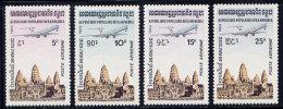 Série De 4 TP PA Neufs ** N° 32/35(Yvert) Kampuchea 1984 - Avion Survolant Le Temple D´Angkor Vat - Kampuchea