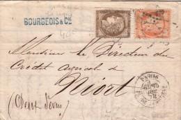 1876  LETTRE  N° 56 + 38.  BOURGEOIS & Cie PARIS PLACE DE LA BOURSE Pour NIORT / 3527 - 1849-1876: Période Classique