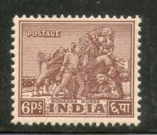 India 1949 6ps Konark Horse Archaeological 1st Def. Series Phila-D2 MNH Inde Indien - Archaeology