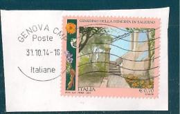 ITALIA REPUBBLICA  0,70 2014 USATO SU FRAMMENTO - 6. 1946-.. Republic