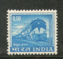 India 1966 10p Electric Locomotive 4th Def. Series WMK- Ashokan MNH Inde Indien - Trains