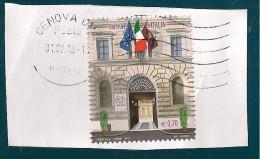 ITALIA REPUBBLICA QUESTURE D'ITALIA  0,70 2013 USATO SU FRAMMENTO - 6. 1946-.. Repubblica