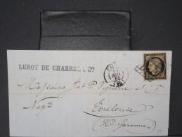 FRANCE-N°3 20c NOIR SUR CHAMOIS SUR LETTRE ( Avec Texte) DE PARIS/TOULOUSE 1850 LETTRE SIGNE ROUMET  COTE 600€  P3936 - Marcophilie (Lettres)