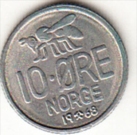 NORUEGA 1968  10 ÖRE.REY OLAV  V .CUPRO-NIQUEL   EBC CN4304 - Noruega