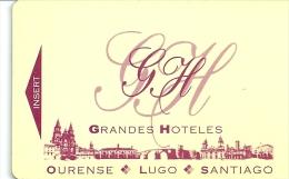 HOTEL GRANDES HOTELES OURENSE LUGO SANTIAGO, Llave Clef Key Keycard Karte - Hotel Labels