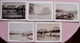 LOT 11 PHOTOS ANCIENNES FABRICATION D'UN PONT QUAI DU RHONE - LYON - VERS 1880 - Andere Sammlungen