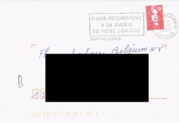 FRANCE. POSTMARK. SAVIGNY. 1997. CENSUS. FLAMME - Marcofilia (sobres)