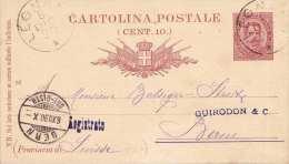 ITALIEN 1890 - 3 Centimes Ganzsache Auf Pk N.Bern - 1878-00 Humbert I.