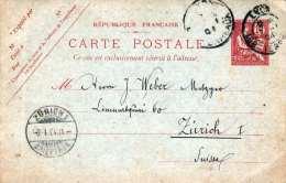 FRANKREICH 1904 - 10 C Ganzsache Auf Pk V.Lyon N.Zürich