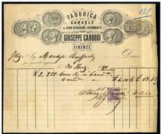 Giuseppe Carobbi  - Fabbricante Candele - Firenze - Fattura Del 1890 - Rif. 16662 - Italia