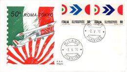 ITALIE. N°1045-6 De 1970 Sur Enveloppe 1er Jour. Arturo Ferrarin. Vol Rome-Tokyo. - Avions