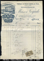 Maison Vogade - Fabrique De Fruits Confits - Nice - Fattura Del 1905 - Rif. 16657 - Food