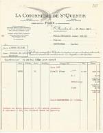 FACTURE LA COTONNIERE DE SAINT QUENTIN à SAINT QUENTIN (AISNE) 1937 - 1900 – 1949