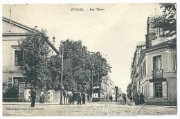 Cpa: 88 EPINAL Rue Thiers (Animée, Tramway, Attelage)  1916 - Epinal