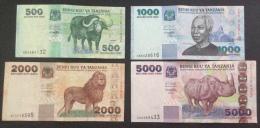 TANZANIA LOT OF 4 CIRCULATED NOTES 500 1000 2000 5000 SHILLINGS - Tanzania