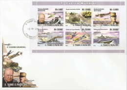 st8305aF S.Tome Principe 2008 Word War II WW2 Churchill De Gaulle military ships & plains s/s FDC Scott:1863