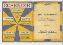 """Villeneuve De Marsan.Petit Calendrier 1957. Mme Lavignotte,Epicerie,Produ Its """"Cusenier"""" - Villeneuve De Marsan"""
