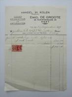 Facture Invoice Emiel De Groote Handel In Kolen 1939 Cokes Briquetten Anthraciten - Belgique
