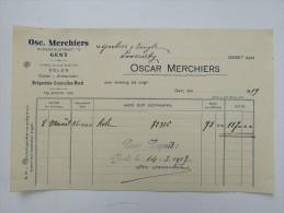 Facture Invoice Oscar Merchiers Bleekerijstraat Gent Gand Kolen 1919 - Belgique