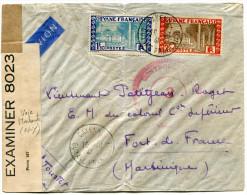 GUYANE LETTRE CENSUREE PAR AVION DEPART CAYENNE 10-10-41 GUYANE FRANCAISE POUR LA MARTINIQUE - Guyane Française (1886-1949)