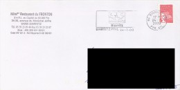 FRANCE. POSTMARK BIARRITZ. ADVERTISING HOTEL RESTAURANT DU FRONTON. 2000. FLAMME - Marcofilia (sobres)