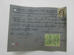Liberale Grondwettelijke En Volksgezinde Vereeniging Gent Gand 1928 Cp/pk Reçu - Gent