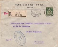 1916 LETTRE RECOMMANDÉ SUISSE. BELLE CENSURE CONTRÔLE 116.  SOCIÉTÉ DE CRÉDIT SUISSE ZURICH  Pour PARIS/ 4419 - Schweiz