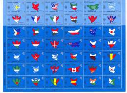1991,KUWAIT.LIBERATION SHEET OF FLAGS OF NATIONS.