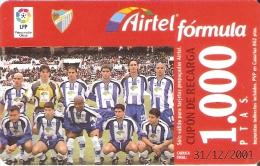 ACR-063 TARJETA DE AIRTEL DEL EQUIPO DE FUTBOL MALAGA 1000 PTAS (FOOTBALL) - Spanien