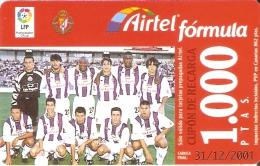 ACR-064 TARJETA DE AIRTEL DEL EQUIPO DE FUTBOL VALLADOLID 1000 PTAS (FOOTBALL) - Airtel