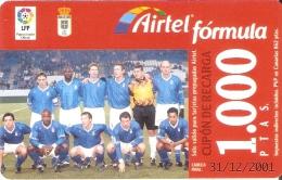 ACR-068 TARJETA DE AIRTEL DEL EQUIPO DE FUTBOL OVIEDO 1000 PTAS (FOOTBALL) - Airtel