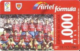ACR-069 TARJETA DE AIRTEL DEL EQUIPO DE FUTBOL NUMANCIA 1000 PTAS (FOOTBALL) - Airtel