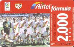 ACR-071 TARJETA DE AIRTEL DEL EQUIPO DE FUTBOL RAYO VALLECANO 2000 PTAS (FOOTBALL) - Airtel