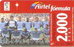ACR-074 TARJETA DE AIRTEL DEL EQUIPO DE FUTBOL CELTA DE VIGO 2000 PTAS (FOOTBALL) - Airtel