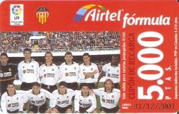 ACR-076 TARJETA DE AIRTEL DEL EQUIPO DE FUTBOL VALENCIA 5000 PTAS (FOOTBALL) - Spain