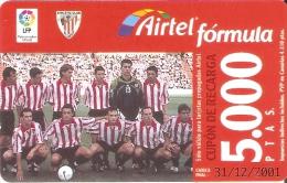 ACR-078 TARJETA DE AIRTEL DEL EQUIPO DE FUTBOL BILBAO 5000 PTAS (FOOTBALL) - Spain