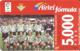 ACR-079 TARJETA DE AIRTEL DEL EQUIPO DE FUTBOL REAL BETIS 5000 PTAS (FOOTBALL) - Airtel