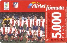 ACR-080 TARJETA DE AIRTEL DEL EQUIPO DE FUTBOL ATLETICO DE MADRID 5000 PTAS (FOOTBALL) - Airtel