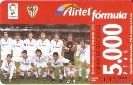 ACR-081 TARJETA DE AIRTEL DEL EQUIPO DE FUTBOL SEVILLA 5000 PTAS (FOOTBALL) - Airtel