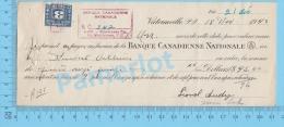 Victoriaville 1942 Pret Sur Billet ( $95.00, à 7%  Banque Canadien National,  Tax Stamp FX 64 ) Quebec 2 SCANS - Chèques & Chèques De Voyage