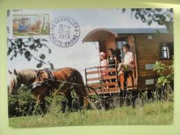 CARTE MAXIMUM CARD ATTELAGE EN ROULOTTE  FRANCE - Horses