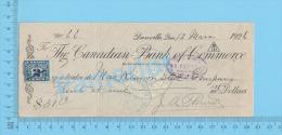 Danville Quebec Canada  1926 Check Cheque ( $31.12, MacKinnon Steel Tax Stamp FX 36 )2 SCANS - Chèques & Chèques De Voyage
