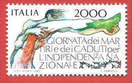 ITALIA REPUBBLICA MNH - 1986 - Giornata Dei Martiri E Dei Caduti Per L'indipendenza Nazionale - £ 2000 - S. 1767 - 1981-90: Neufs