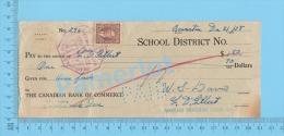 Quebec Canada Barnston School 1938 Cheque Coaticook  ( $1.80 , F. D. Gilbert Horse Feed., Stamp Scott #232 )  2 SCANS - Chèques & Chèques De Voyage