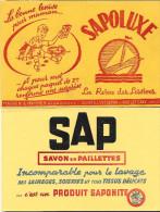 """Buvard :  Lot  De 2  (Savon - Entretien)  =>  """"Sapoluxe Lessive""""  +  """"Saponite - Savon En Paillettes"""" - Other Collections"""