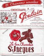 """Buvard :  Lot  De 2  (Alimentation)  =>  """"Chocolat Poulain""""  +  """"Chocolat St Jacques"""" - Other Collections"""