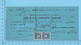 Montreal 1942 Billet 30 Jours ( $238.88, B.V.D Company Ltée, Tax Stamp FX64  ) Quebec Qc. 2 SCANS - Documents Historiques