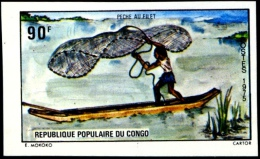 FISHING-BOAT RACE-HARPOON Etc.-IMPERF-SET OF 6-CONGO 1975-MNH A6-425 - Fishes