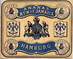 "01463 ""ANANAS RUM OF JAMAICA - HAMBURG""  ETICHETTA ORIGINALE. - Rhum"