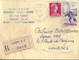 Lettre  -  Cachet  De  Tarbes   En  R  No  7613   ( 65 )  à  Destination  De  Lourdes  ( 65 ) - Postmark Collection (Covers)